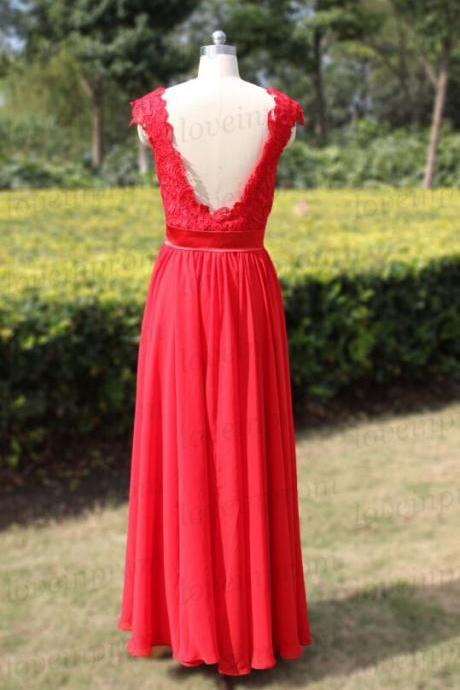Elegant Lace Evening Party Dress Formal Prom Gown For Weding Red