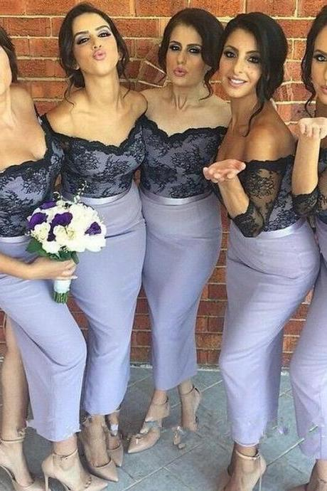 Short Sleeve Mermai Lace Bridesmaid Dresses